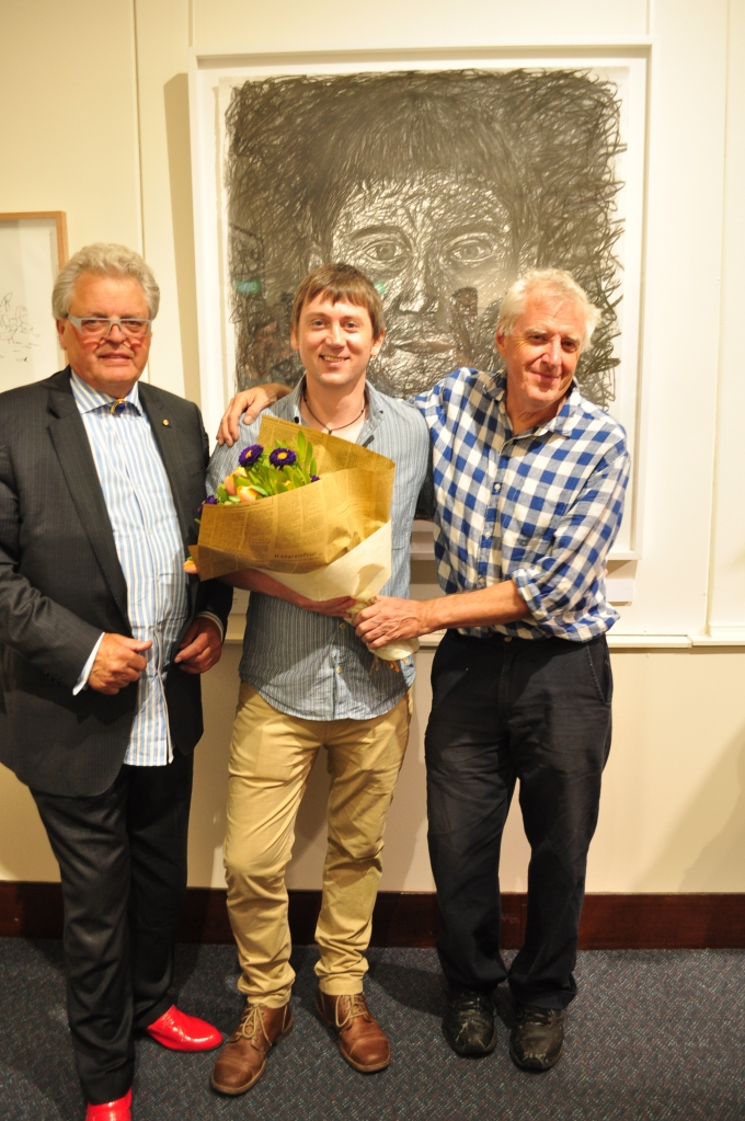 Mr Stuart Purvis, National Director at Australian Galleries, Mr Lee Wise and Mr Peter Kingston AM